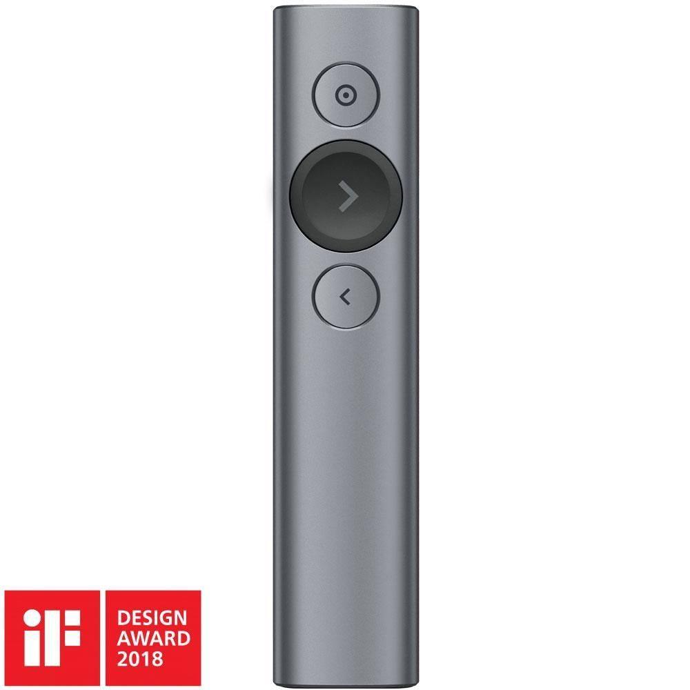 Apresentador Logitech Spotlight Sem Fio com Conexão por Receptor USB ou Bluetooth, Bateria Recarregável - Cinza