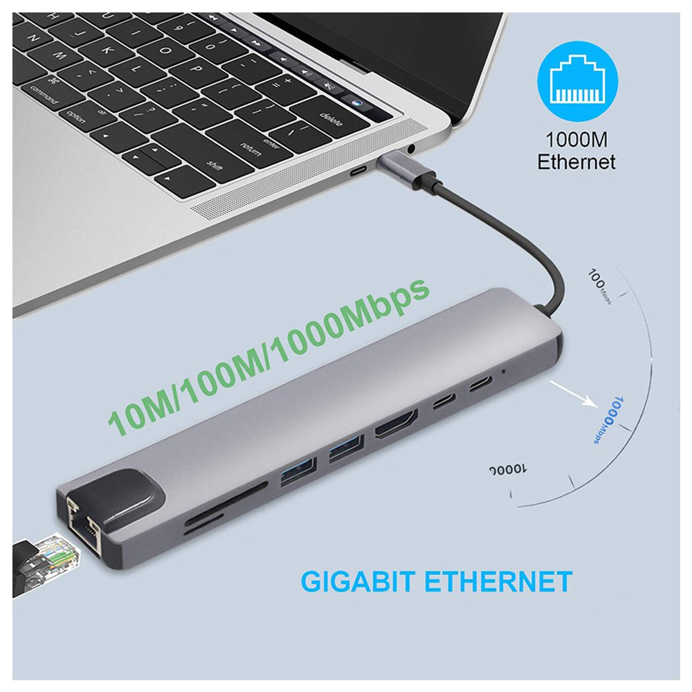 Cabo Adaptador Hub USB Tipo C com 8 Portas, HDMI 4K + USB-C + RJ45 Gigabit Ethernet + Dual USB + SD TF - FlexInter