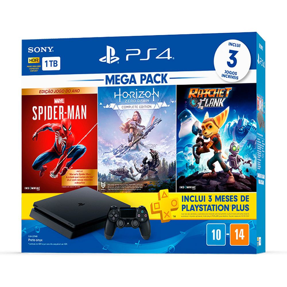 Console Playstation 4 Slim 1TB Bundle 15 - Horizon Zero Dawn + Marvel's Spider-Man + Ratchet & Clank + 3 Meses Playstation Plus