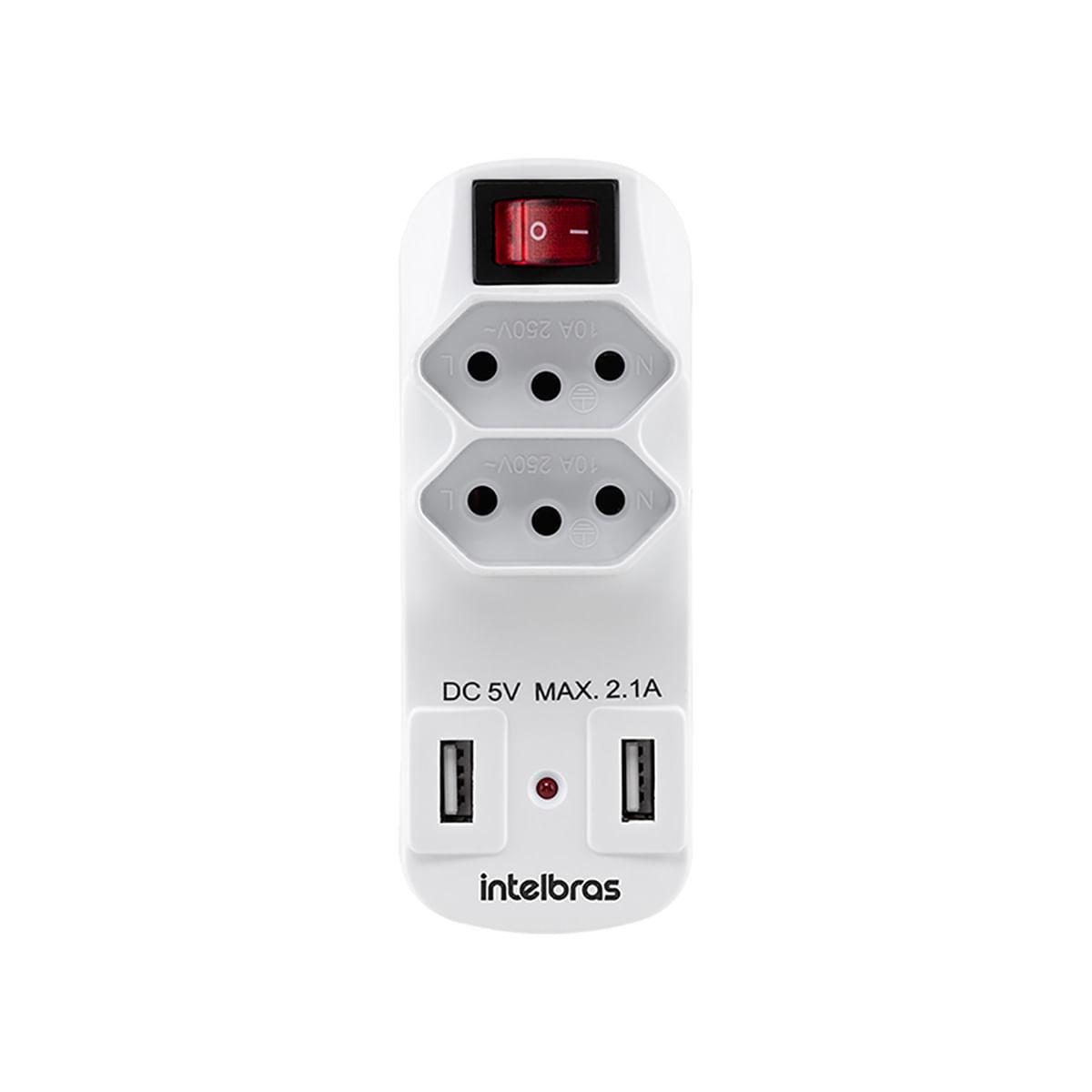Adaptador de 2 tomadas e 2 USB  Intelbras EAC 1002