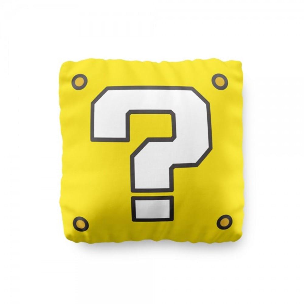 Almofada Bloco Interrogação amarelo Fábrica Geek