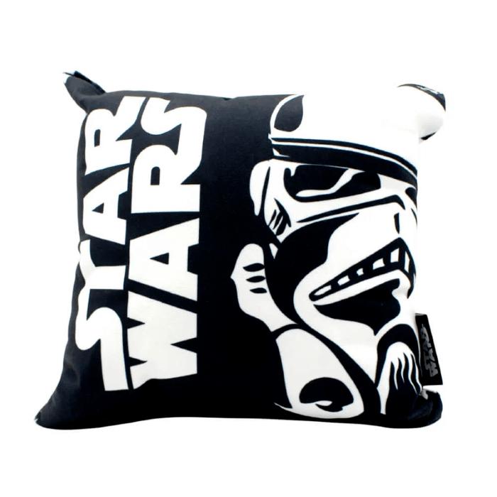Almofada Veludo Stormtrooper Star Wars 25x25cm Preto e Branco