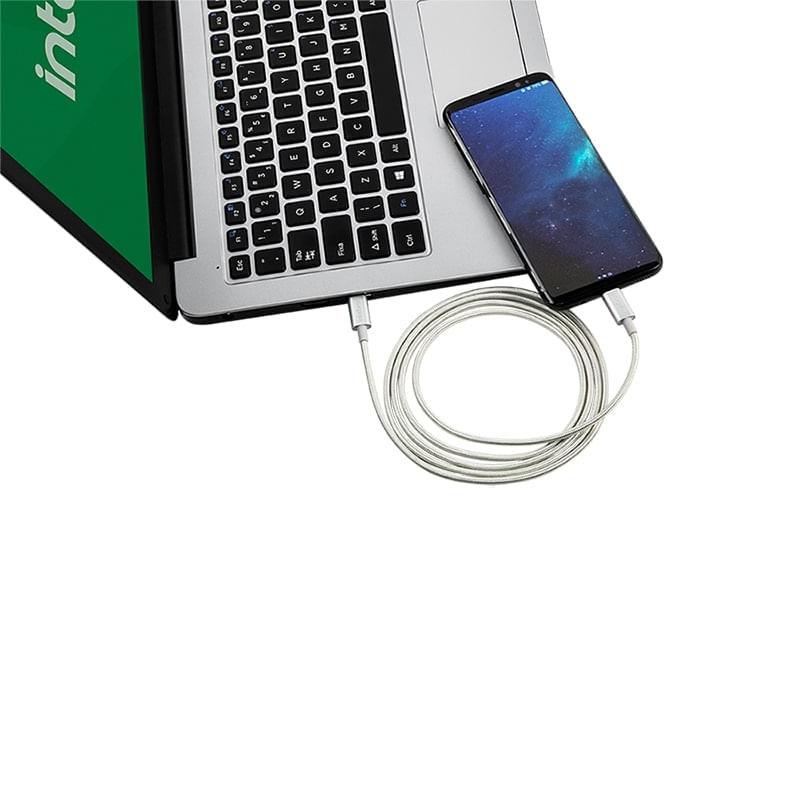 Cabo USB-C - USB-C 1,5m nylon branco Intelbras EUCC 15NB