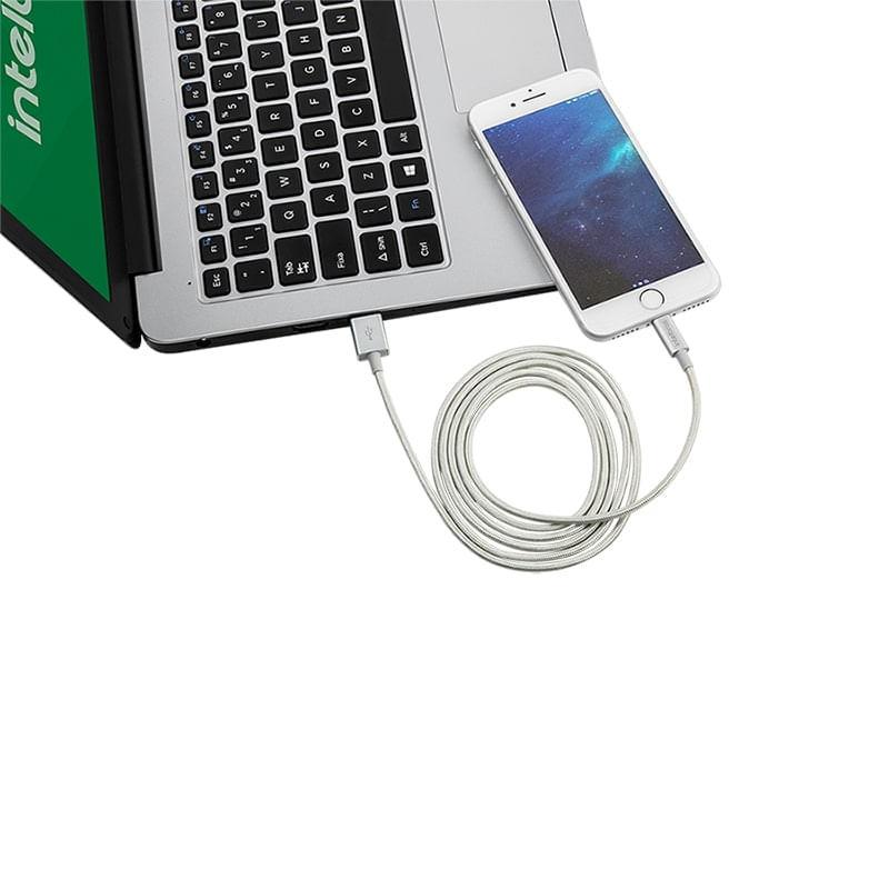 Cabo USB - Lightning 1,5m nylon branco Intelbras EUAL 15NB