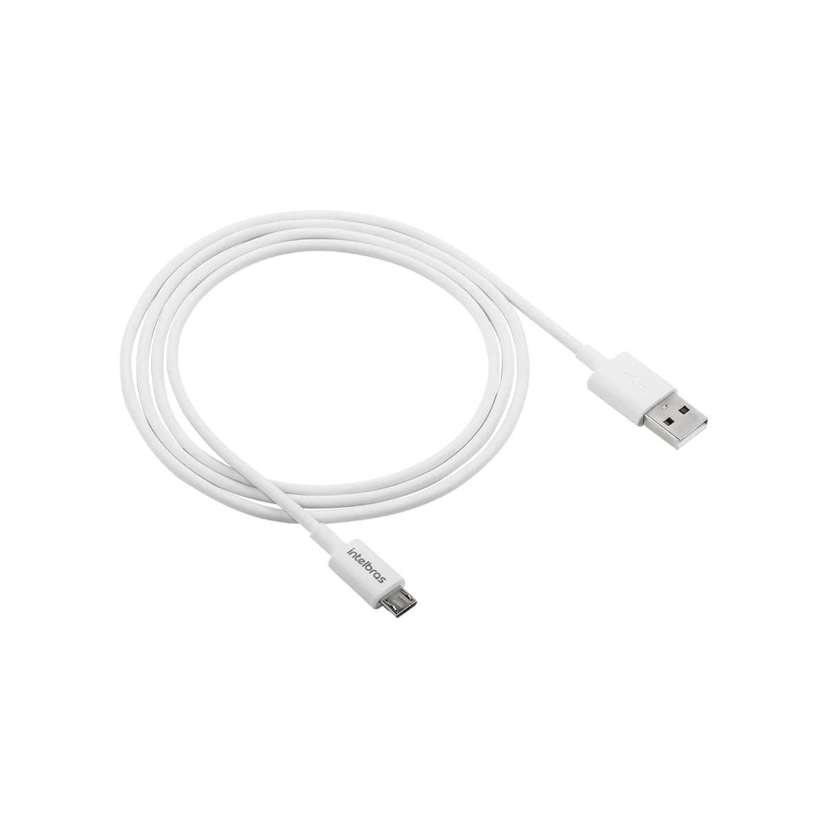 Cabo USB - Micro USB 1,2m PVC branco Intelbras EUAB 12PB