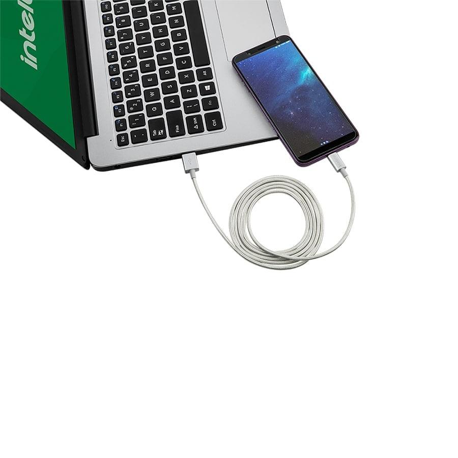 Cabo USB - Micro USB 1,5m nylon branco Intelbras EUAB 15NB