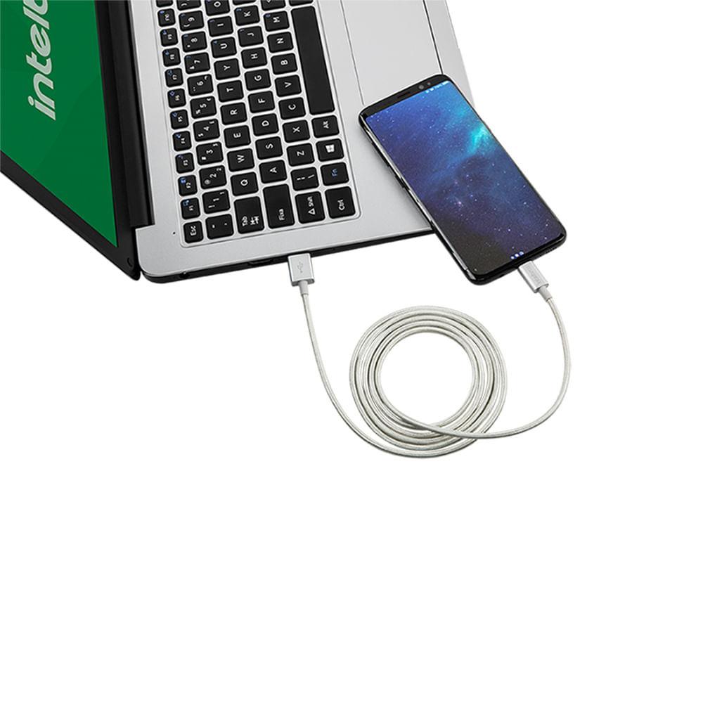 Cabo USB - USB-C 1,5m nylon branco Intelbras EUAC 15NB