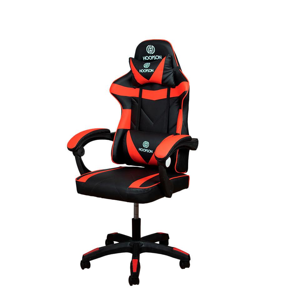 Cadeira Gamer Com Suporte Para Lombar Hoopson Preta e Vermelha