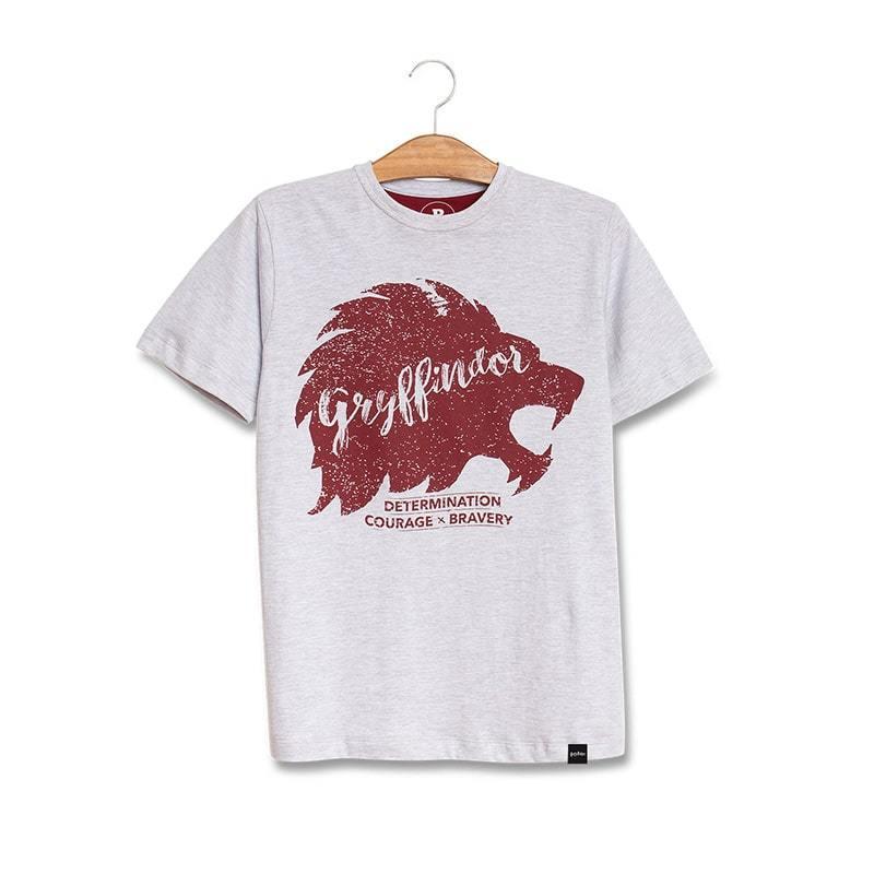 Camiseta Infantil Cinza Mescla Mascote Grifinoria