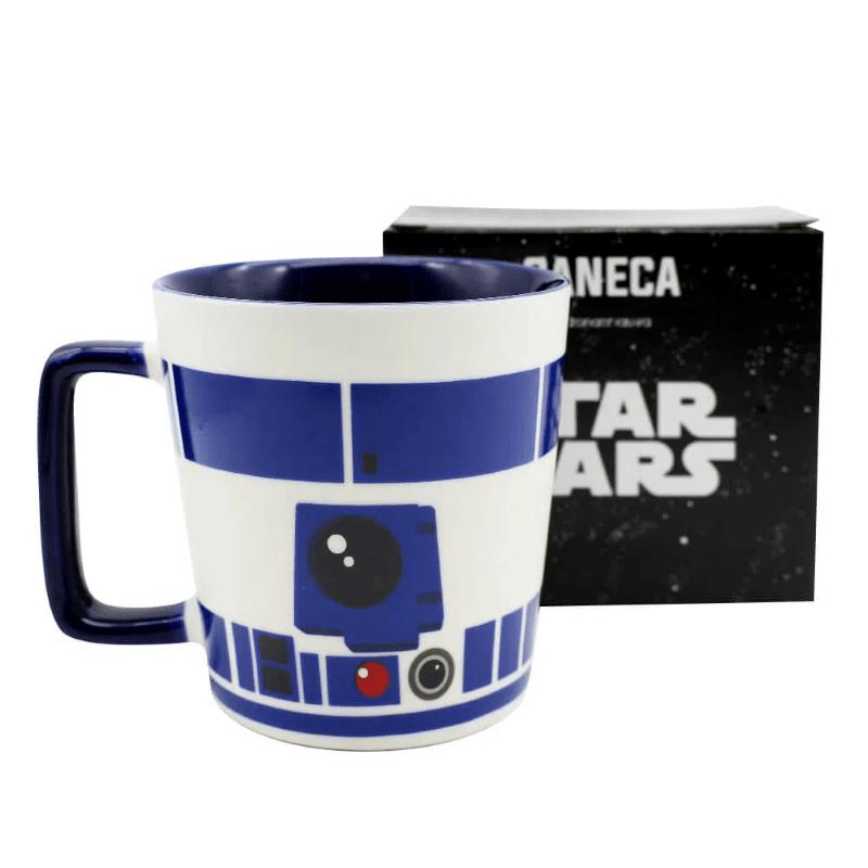 Caneca R2D2 Star Wars 400ml Azul e Branca Cerâmica