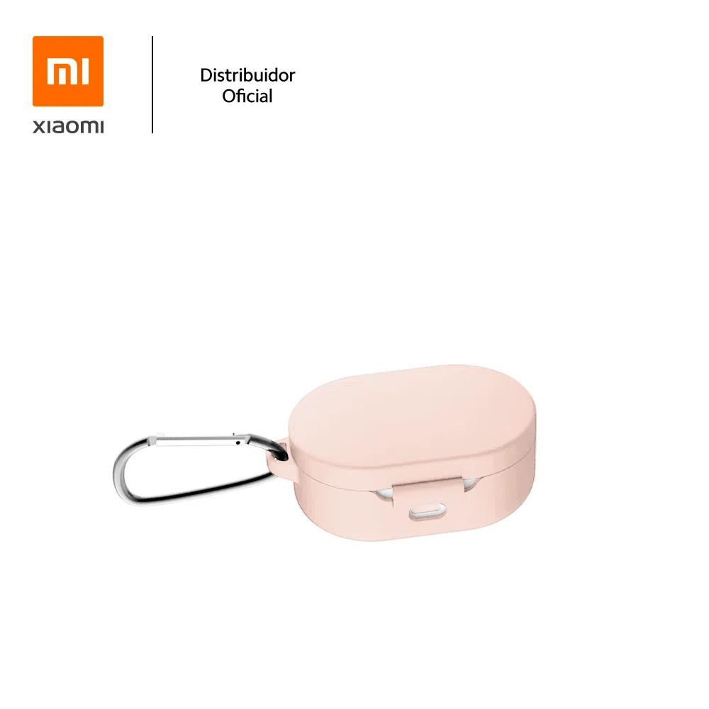 Capa Protetora de Silicone com Mosquetão para Fone Bluetooth Xiaomi Earbuds/Airdots Rosa Claro