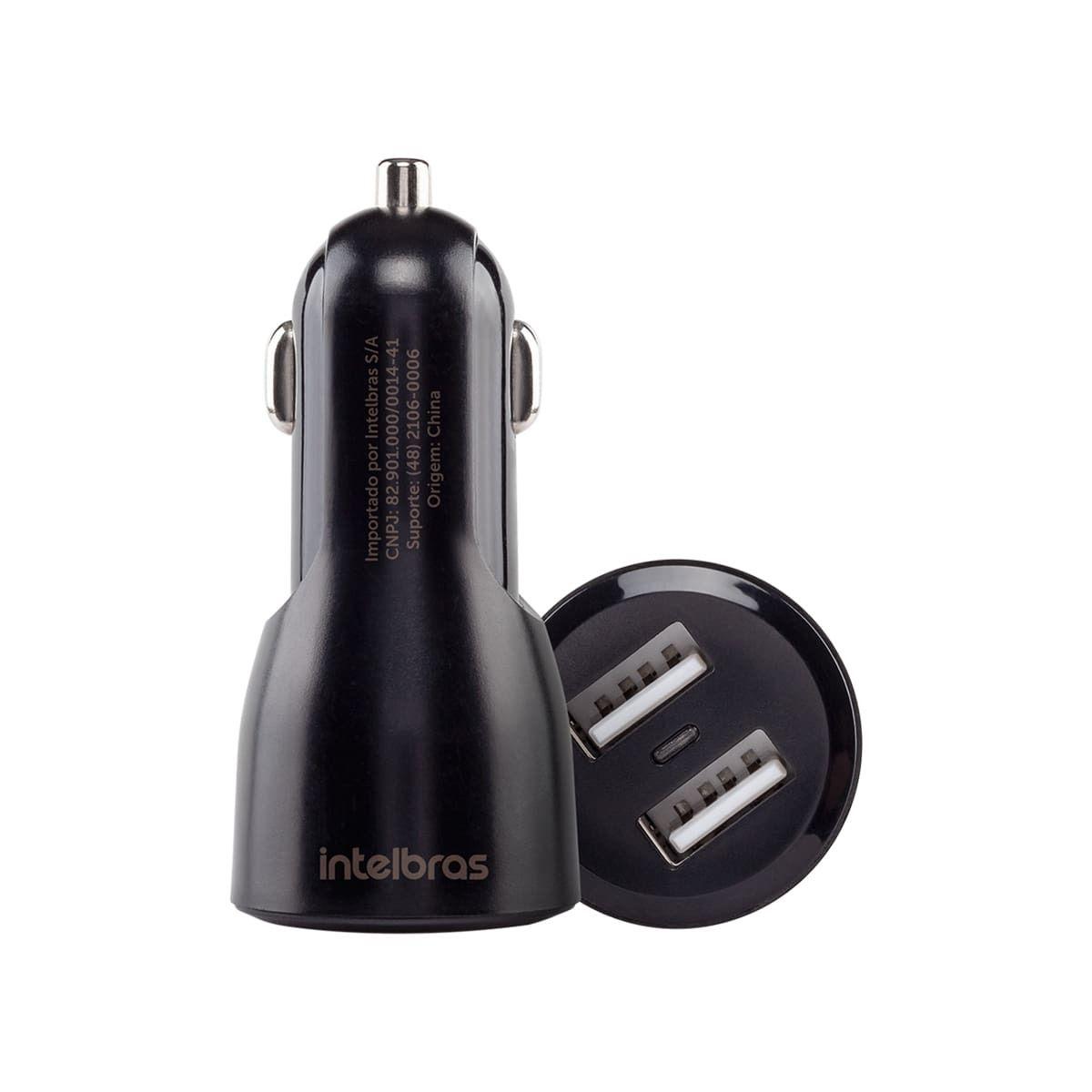 Carregador veicular universal USB com 2 portas Intelbras ECV 2 Fast