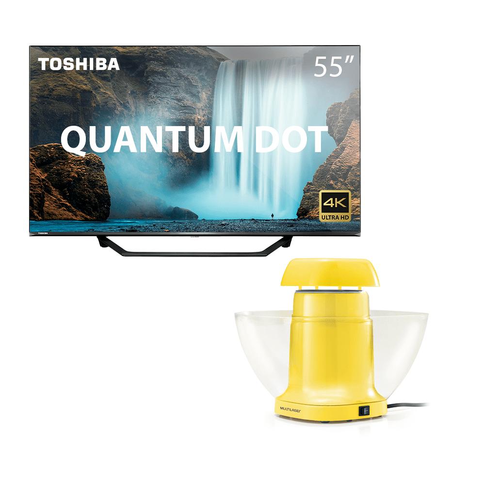 Combo Cinema - Tela Toshiba QLED 55 Pol. 55M550KB Quantum DOT 4K Smart e Pipoqueira de Tigela Sem Óleo 127V-1200W Amarela - TB001K