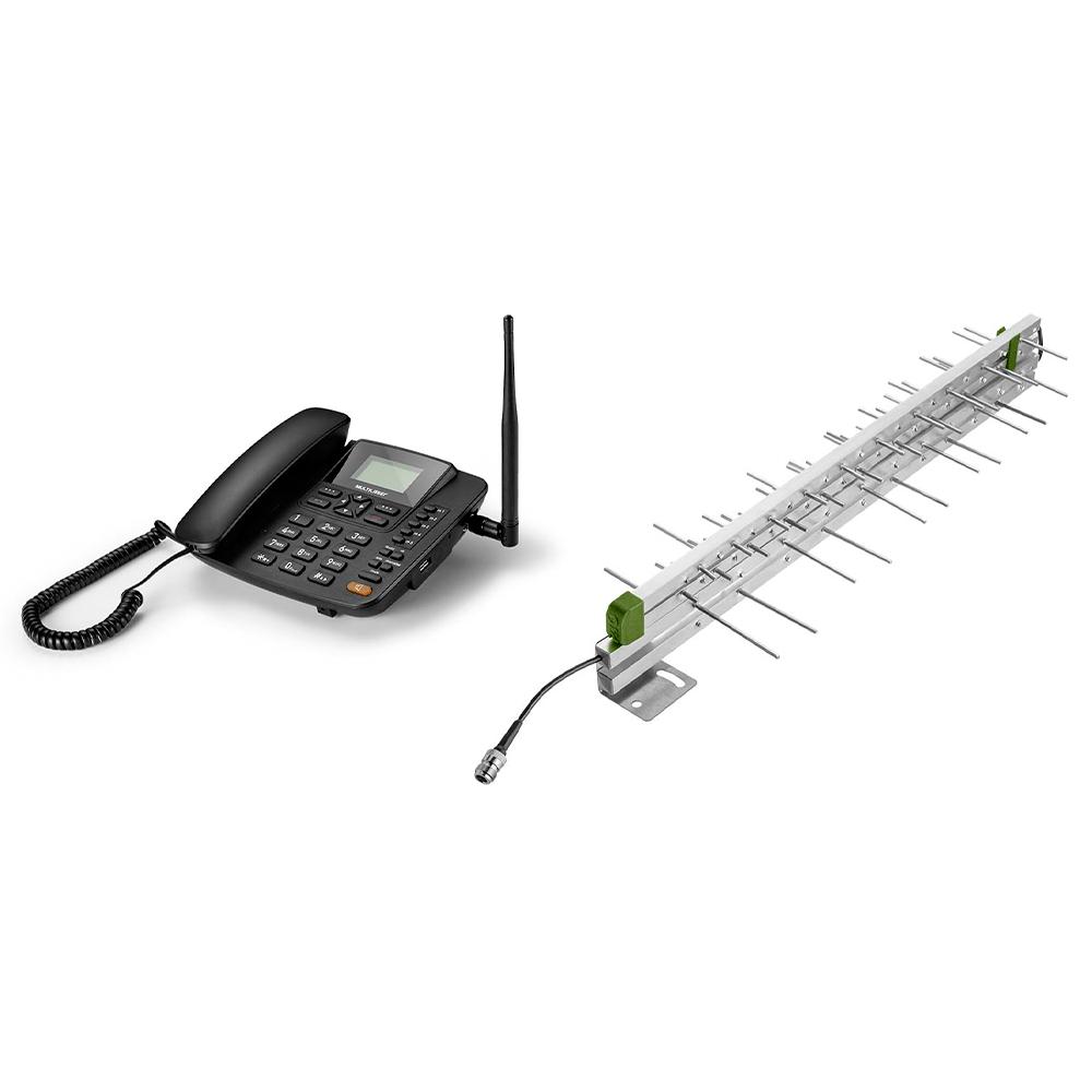 Combo Redes - Celular Rural Fixo Quadriband 3G Preto e Antena Externa Para Celular Quadriband Multilaser - RE504K