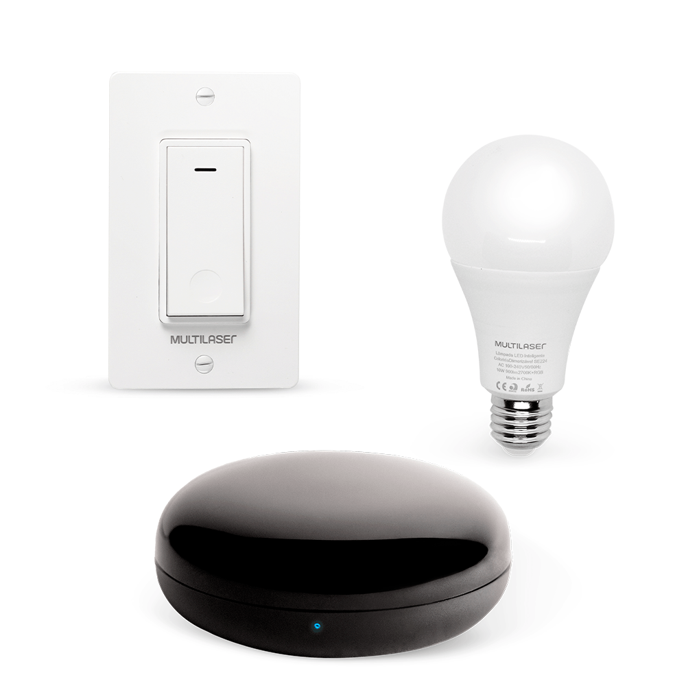 Combo Segurança - Controle Remoto Universal com Interruptor Bivolt Wi-fi e Lampada Led Wi-fi Liv - SE226K