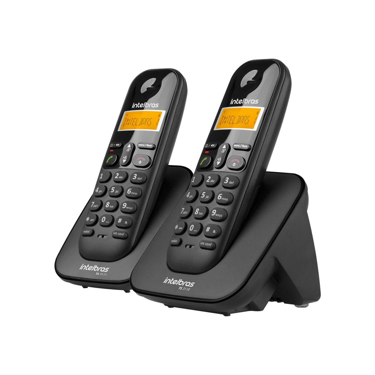 Kit Telefone sem Fio Digital + Ramal Intelbras TS 3112 Preto