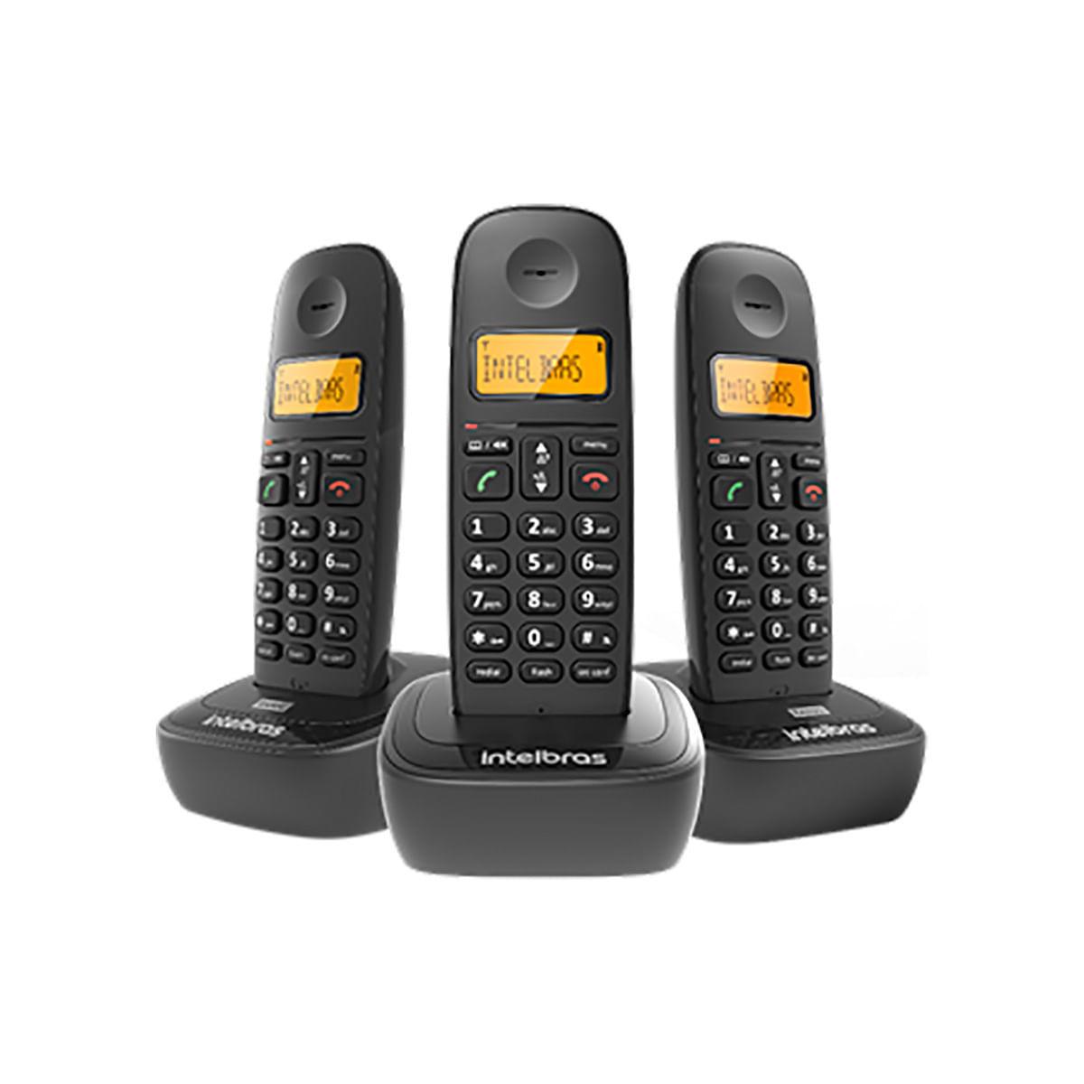 Kit Telefone sem Fio + Dois Ramais Adicionais Intelbras TS 2513