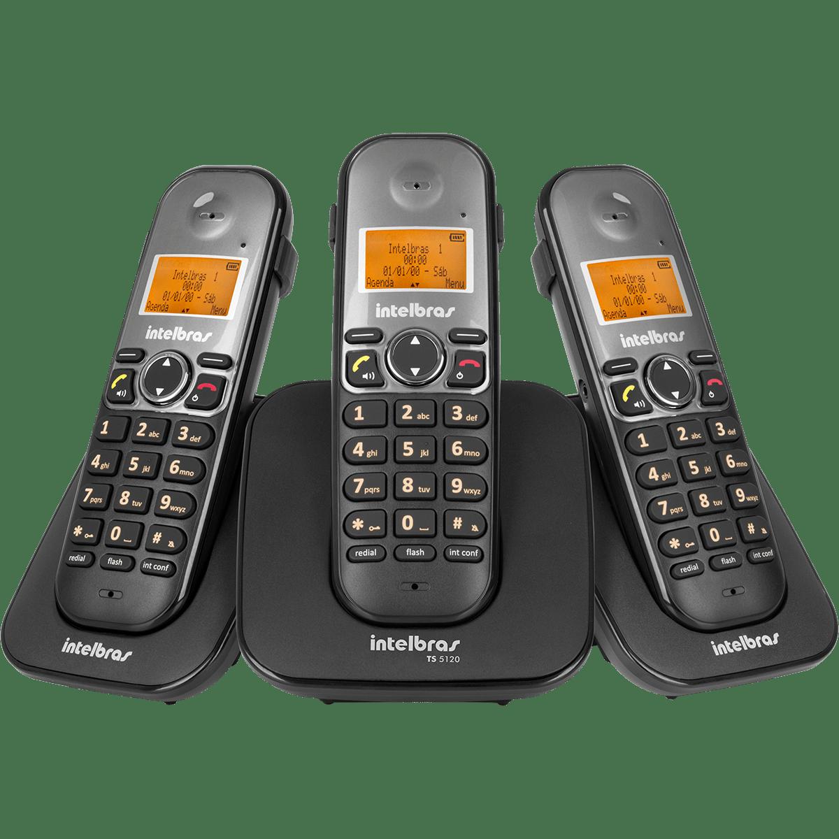 Combo Telefone sem Fio Intelbras + Dois Ramais Adicionais TS 5123
