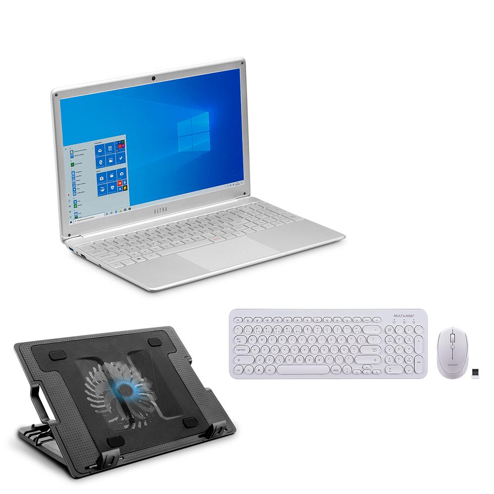 Compre Notebook Ultra, com Windows 10 Home, Memoria 480GB, Tela 15,6 e Ganhe Teclado e Mouse Sem Fio  Base Cooler Para Notebook - UB520K