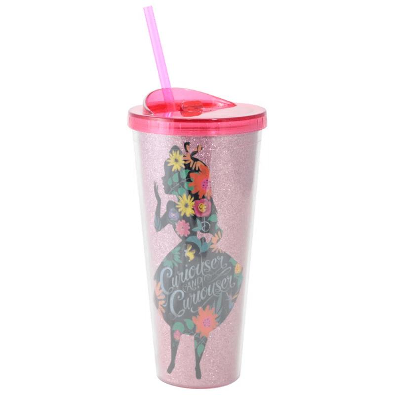 Copo com Canudo Alice no País das Maravilhas Disney 650ml Rosa com Glitter