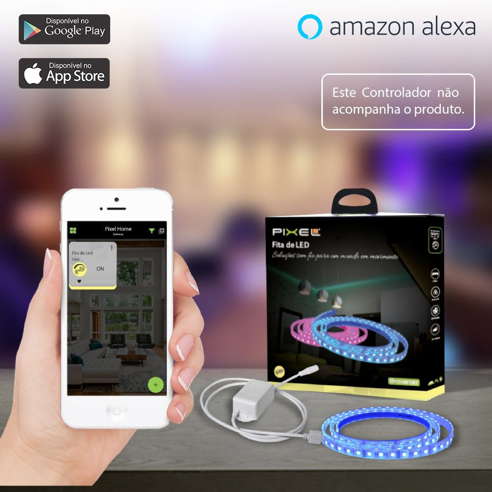Fita de LED sem Controlador Pixel TI C012FRGB - Compatível Com Alexa - Smart Home