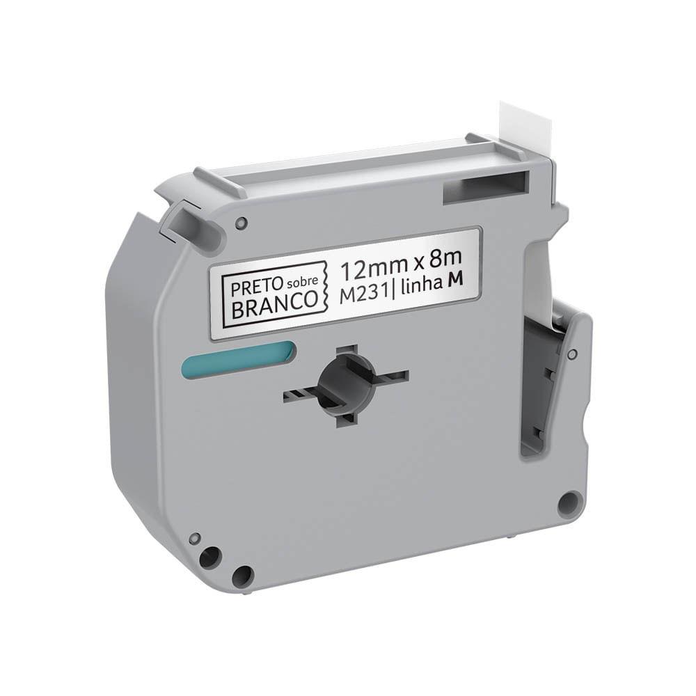 Fita para Rotulador Brother M231 Preto sobre Branco 12mm - RF021