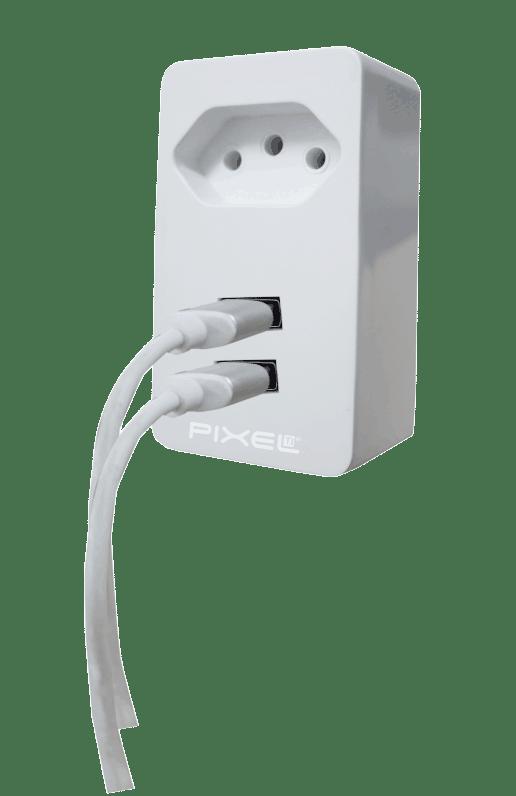 Fonte USB com duas portas e tomada - Pixel TI - A062USB