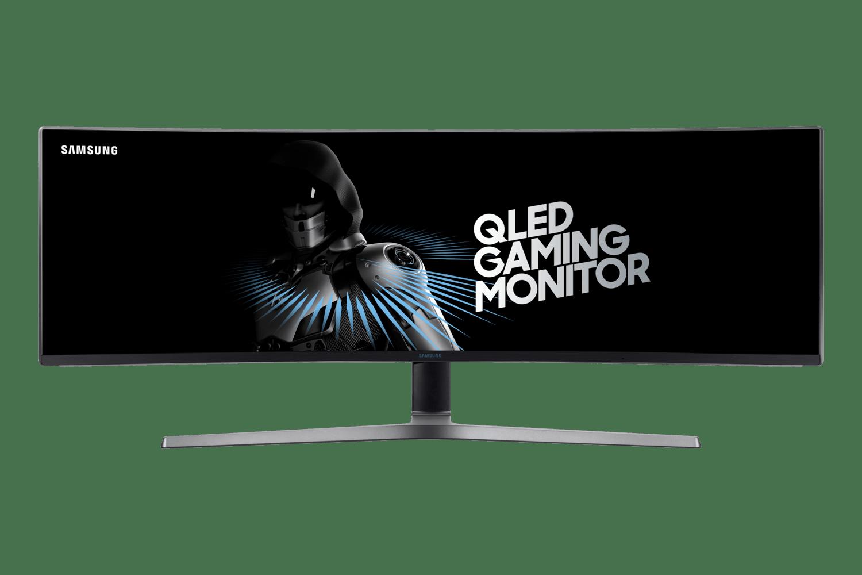 Monitor Curvo Samsung Odyssey DFHD LC49HG90, tela super ultra-ampla, 140Hz, 1ms, HDMI, DP, mini DP, Freesync, com ajuste de altura, preto, série CHG90