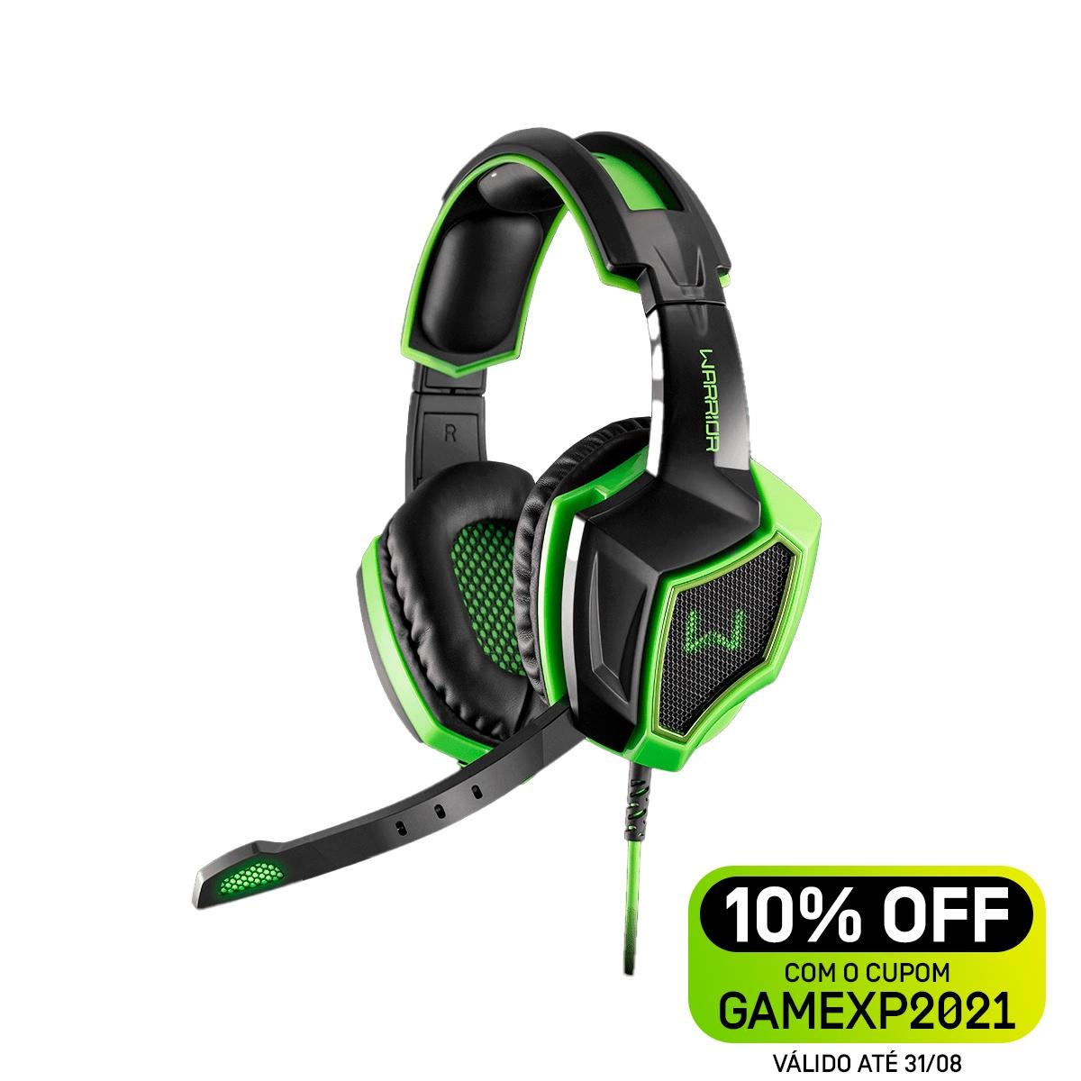 Headset Gamer Warrior Ares USB 7.1 3D Surround Sound Preto/Verde - PH224