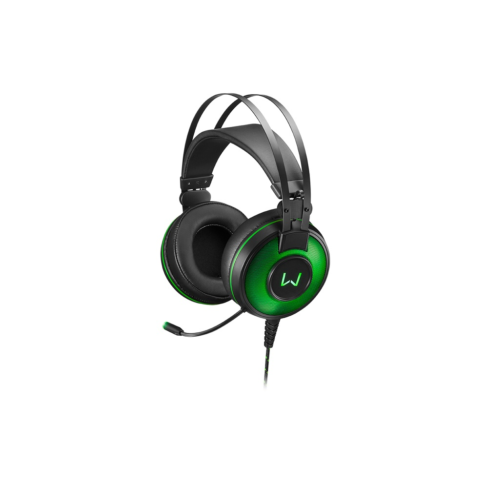 Headset Gamer Warrior Raiko USB 7.1 3D Digital Surround Sound LED Verde - PH259