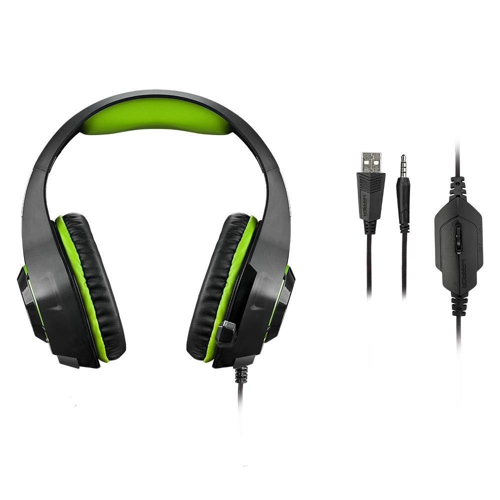 Headset Gamer Warrior Rama P3+USB Stereo Adaptador P2 LED Verde - PH299