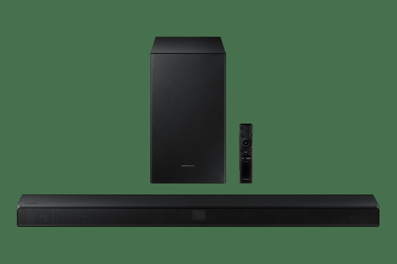 Soundbar Samsung HW-T555, 2.1 canais, potência de 320W, Bluetooth, Subwoofer sem fio e DTS Virtual:X