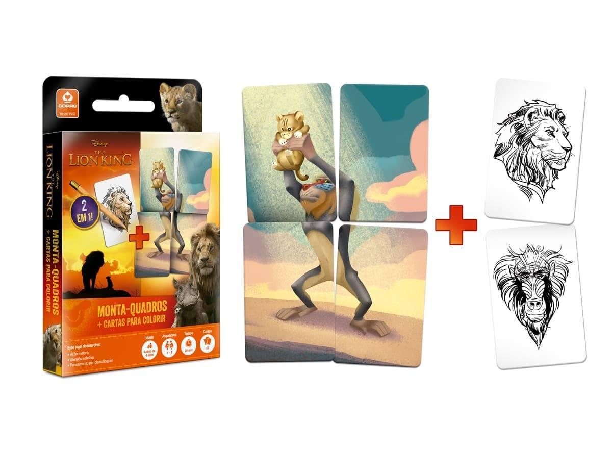 Jogo O Rei Leão Monta-Quadros com Cartas para Colorir - Copag