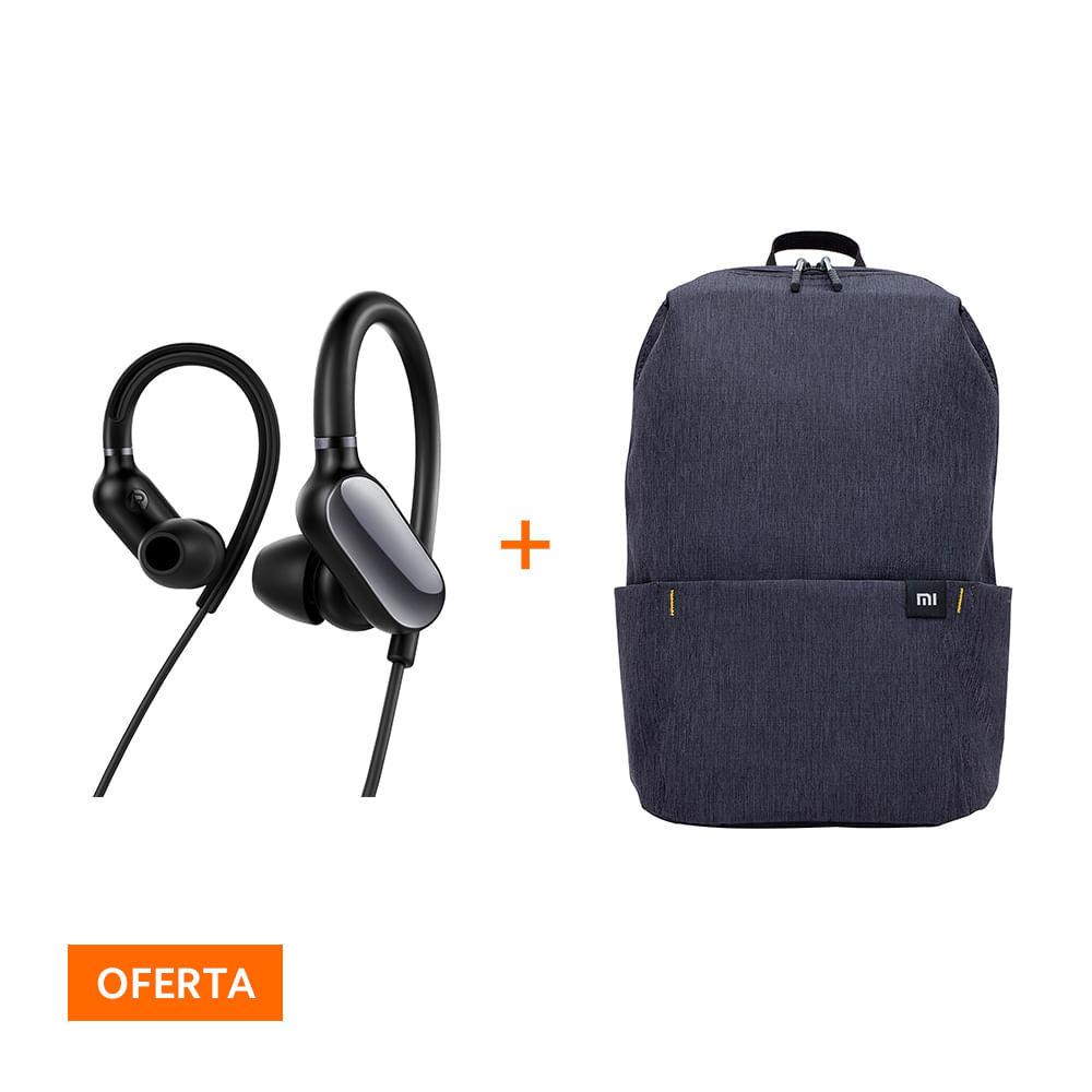 Kit Fone de ouvido Bluetooth Mi Sports Xiaomi + Mochila Casual Daypack