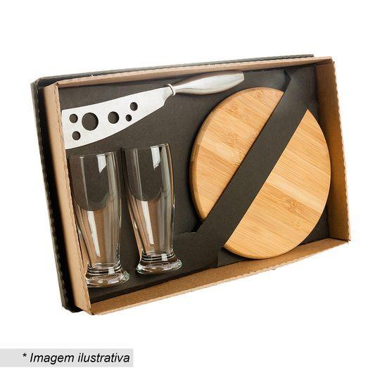 Kit para Queijo e Cerveja Welf KT90012 6 Peças Tábua 21cm Redonda Inclui 4 Copos