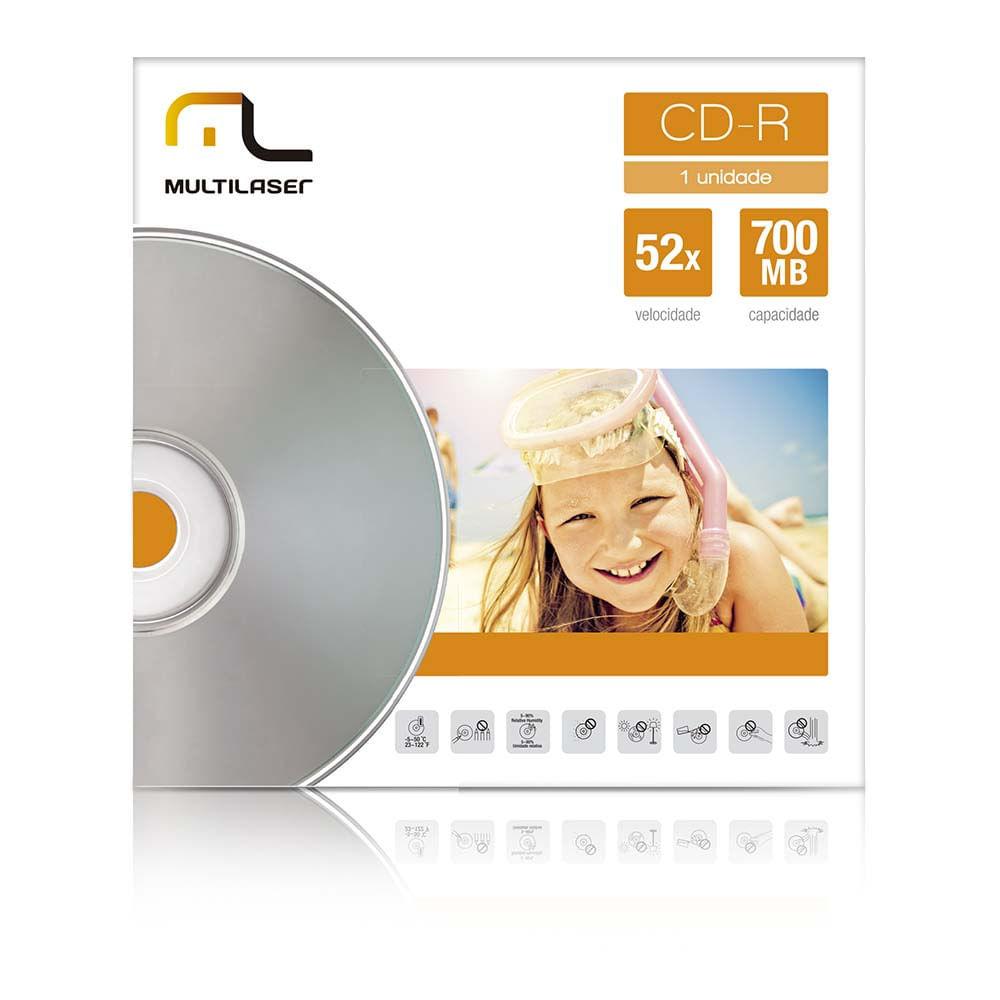 Mídia Cd-R Velocidade 52X Unitário Em Envelope Multilaser CD006