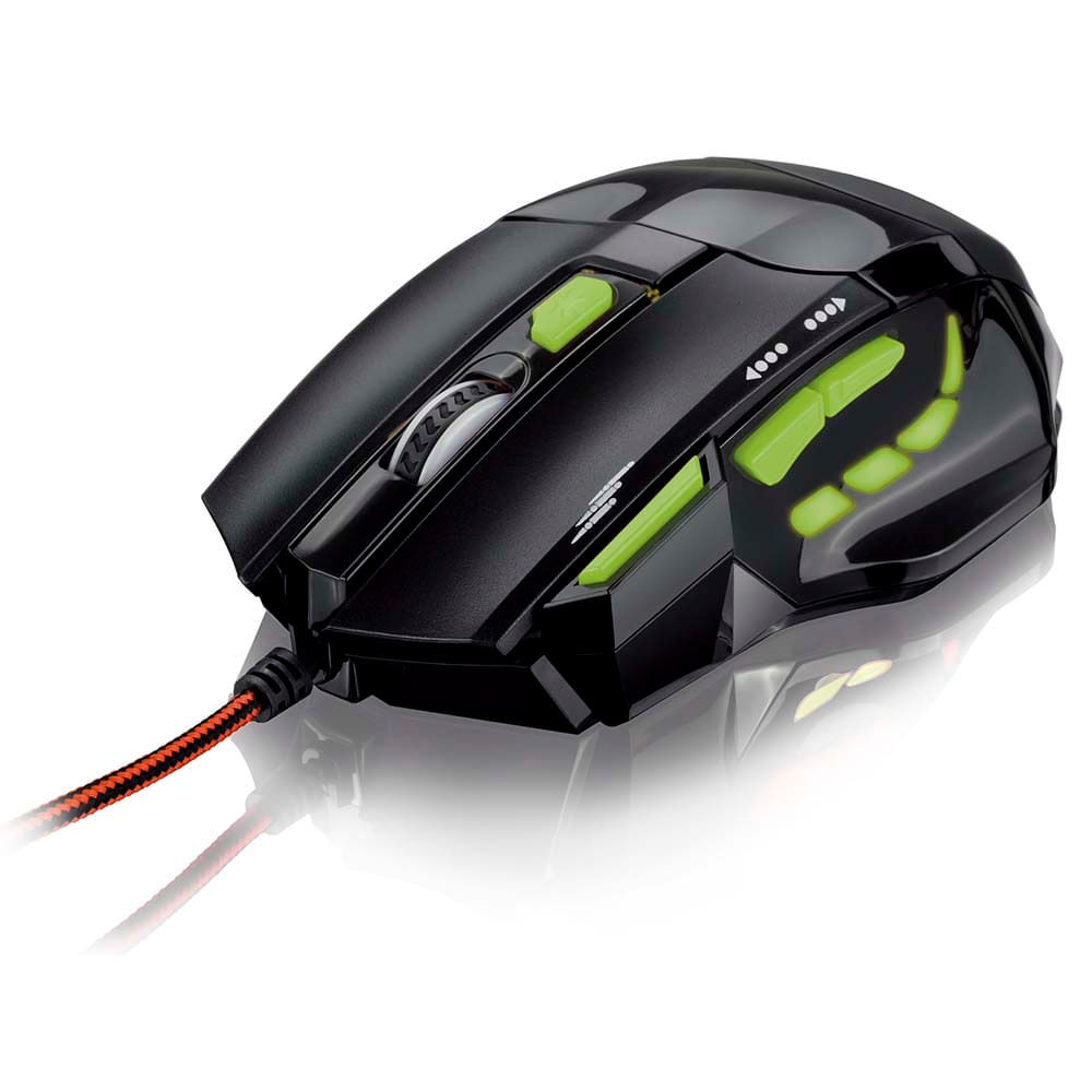 Mouse Gamer 2400DPI com QuickFire Verde Multilaser - MO208