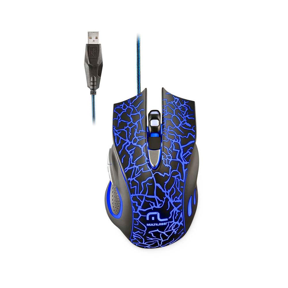 Mouse Gamer 3200DPI 6 Botões com LED Multilaser - MO250