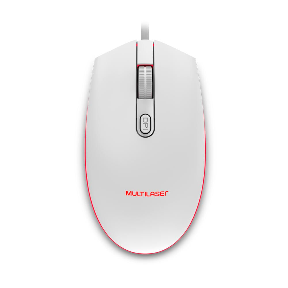 Mouse Gamer Multilaser 2400DPI Led Branco- MO299