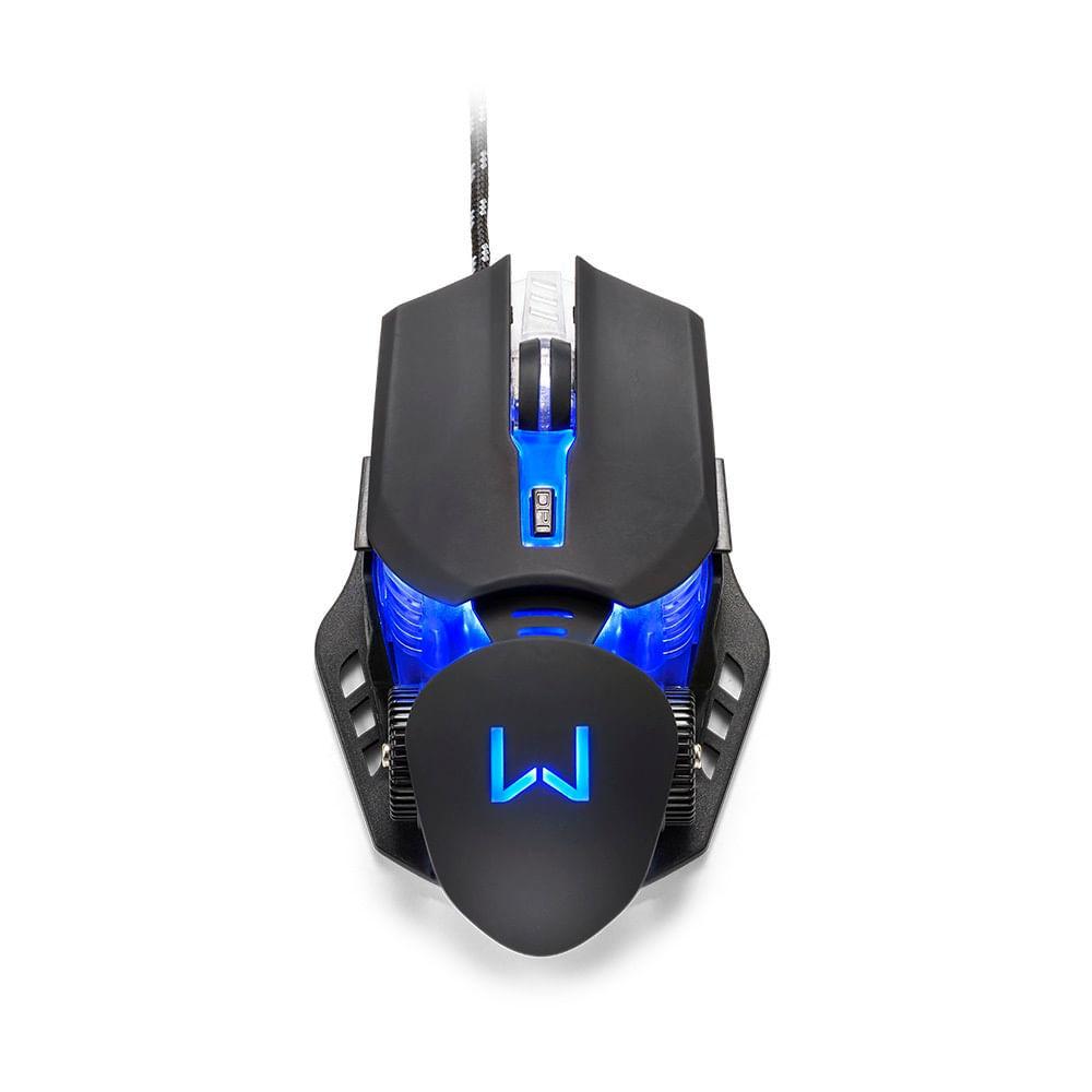 Mouse Gamer Warrior Keon 3200DPI 6 Botões Ambidestro Preto - MO267