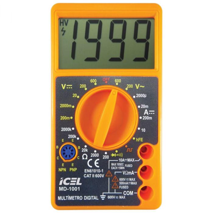 Multímetro Digital Icel MD-1001 Amarelo Display LCD