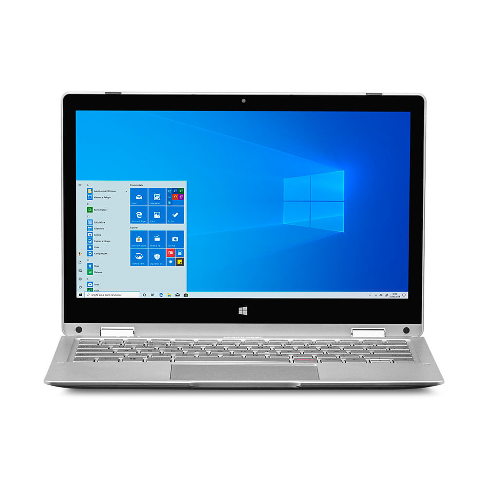 Notebook M11W Prime 2 em 1, com Windows 10 Home, Processador Intel Pentium Quad Core, Memoria 4GB 64GB, Tela 11,6 Pol, Prata Multilaser - PC301