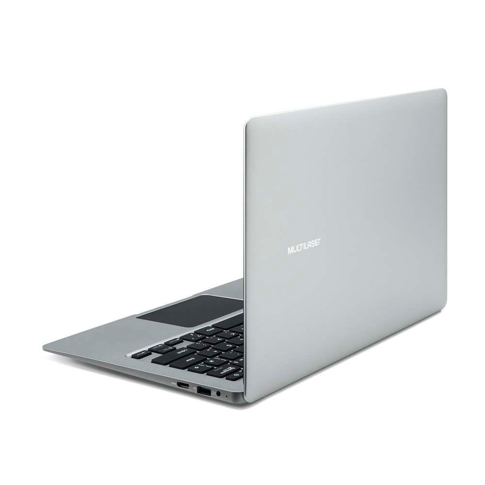 Notebook Multilaser Legacy Air Intel Celeron 4GB capac. de até 152GB (32GB+120SSD) 13.3 Pol Full HD Win 10 Prata  - PC240