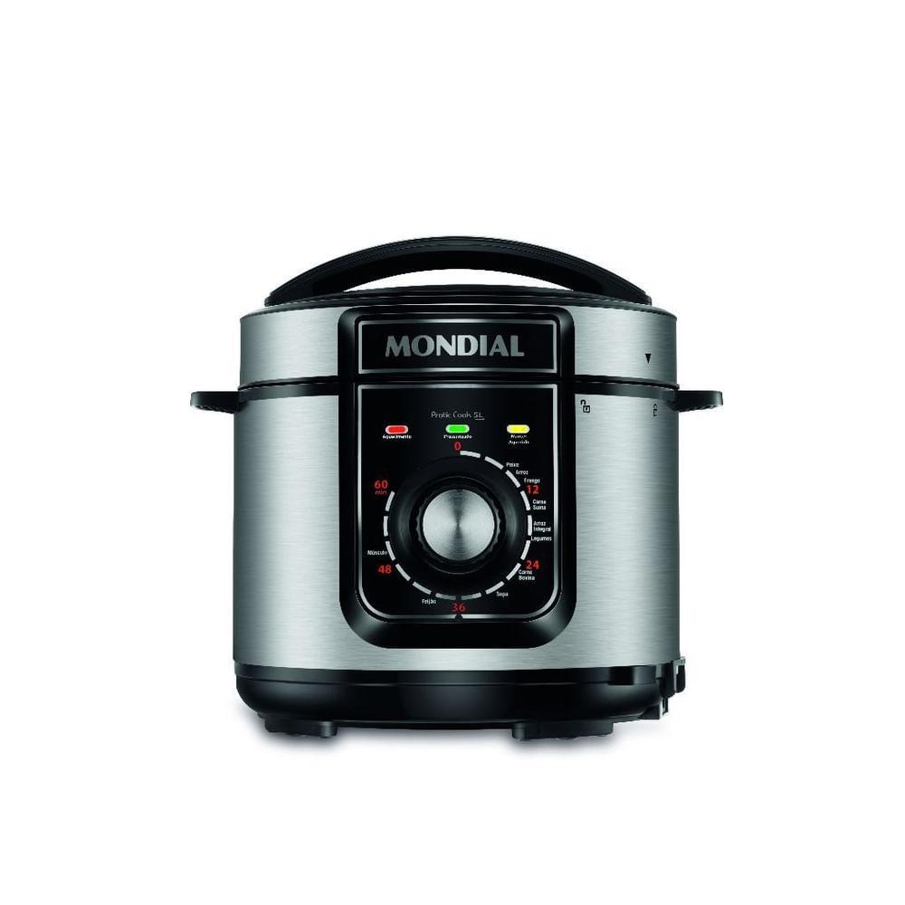 Panela Elétrica de Pressão Mondial Pratic Cook PE485LI 127V 5L Inox 10 Funções
