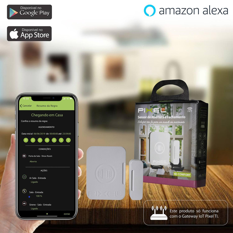 Sensor de Abertura e Fechamento Pixel TI C005SAEF - Compatível com Alexa - Smart Home
