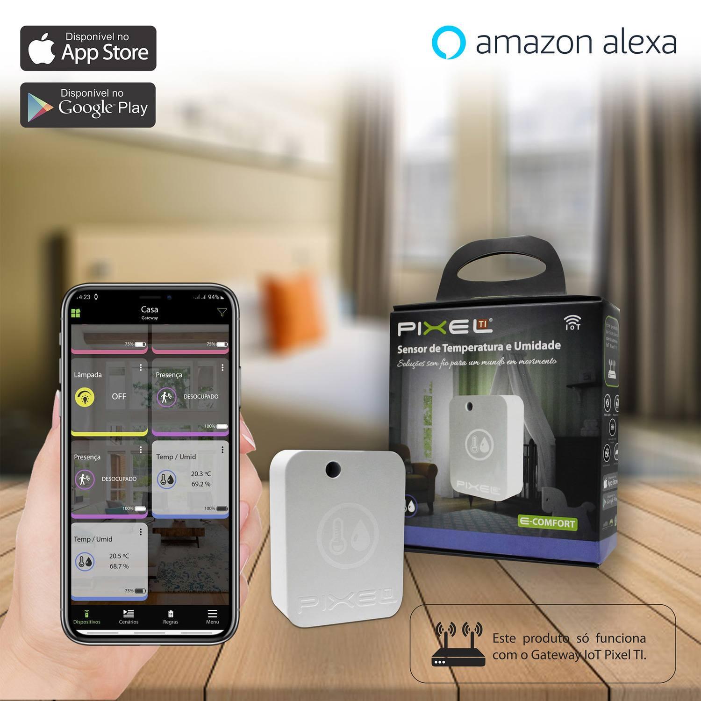 Sensor de Temperatura e Umidade Pixel TI C004STEM - Compatível com Alexa - Smart Home