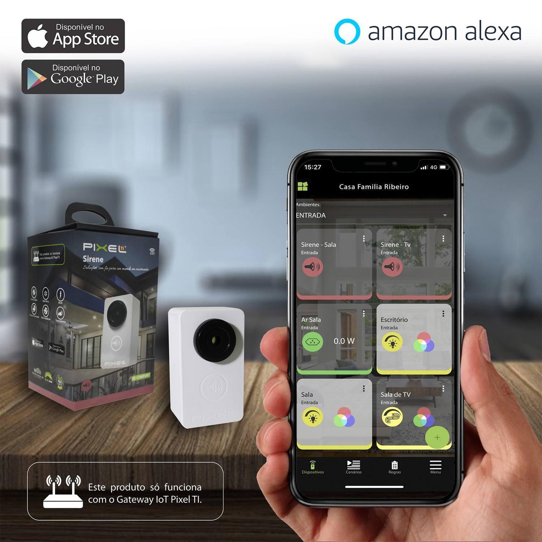 Sirene Inteligente Pixel TI C007SIOT - Compatível com Alexa - Smart Home