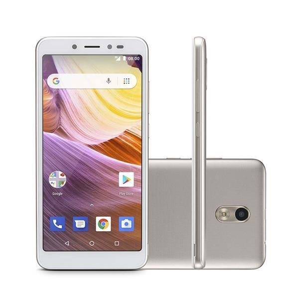 Smartphone Multilaser Ms50G 3G 8GB 1GB Ram 5,5 Pol. Câmera 8Mp+5Mp Android 8.1 Dourado/Branco - P9073