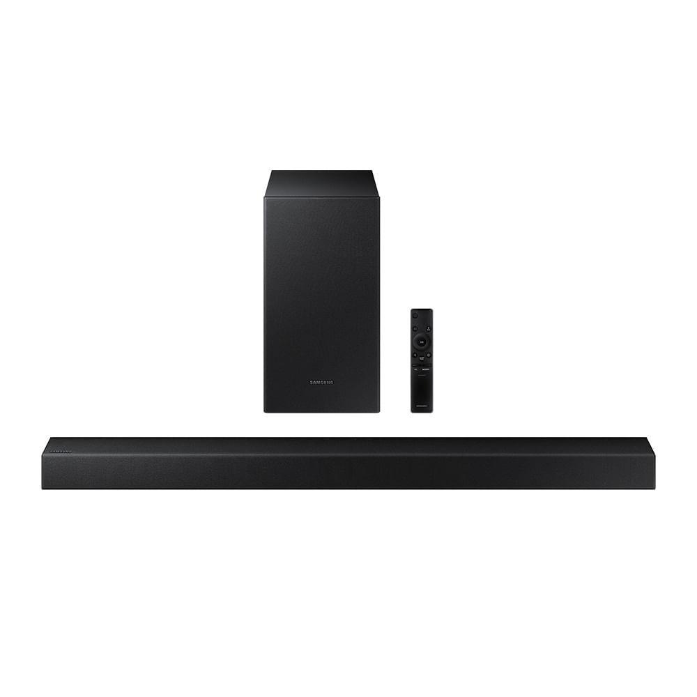 Soundbar Samsung HW-T450, com 2.1 canais, Potência de 200W, Bluetooth e Subwoofer sem fio