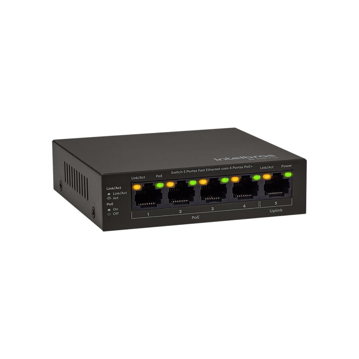 Switch 5 portas Intelbras Fast Ethernet SF 500 PoE